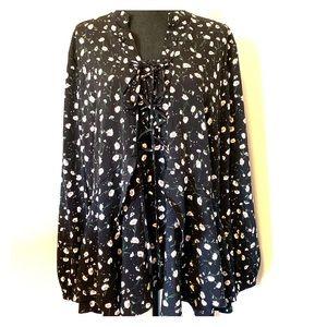 Lane Bryant peasant style flowy blouse floral 20
